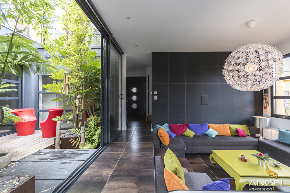 Modern interior design brilliant colors