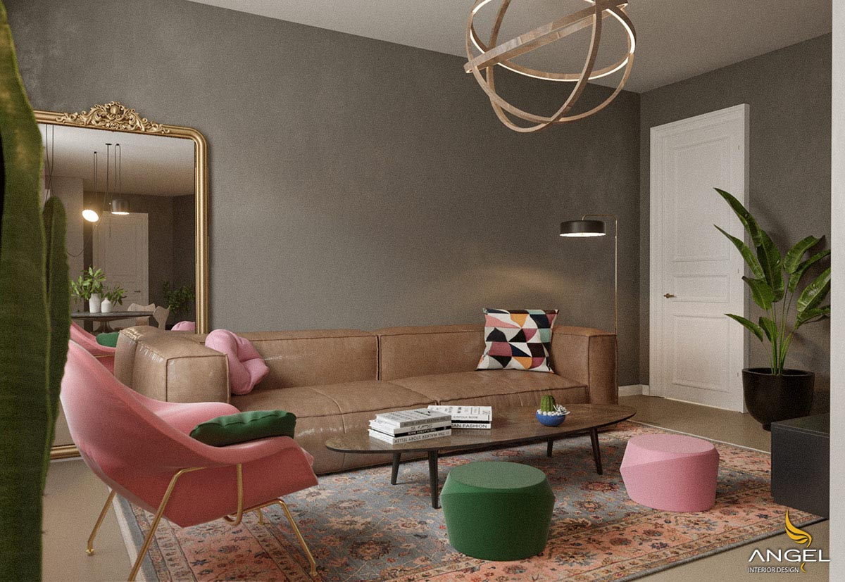 Pink lotus interior design and green solution for the house