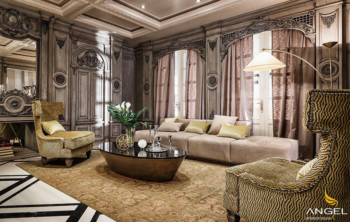 Stylish neo classical interiors villa beautiful color